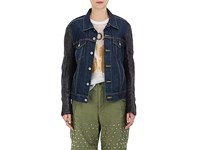 Comme Des Garcons Junya Watanabe Women's Denim And Synthetic Leather Jacket Blue Black Navy