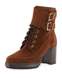 Aquatalia By Marvin K Irene Suede Stitched Booties Chestnut