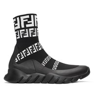Black 'Forever Fendi' Knit High Top Sneakers