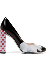 Fendi Eloise Printed Leather Pumps Black