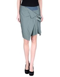 Uniqueness Knee Length Skirts Military Green