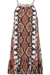 Tart Collections Angelica Ruffled Snake Print Crepe De Chine Mini Dress Brown