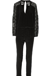 Mason By Michelle Mason Lace Paneled Silk Crepe De Chine Jumpsuit Black