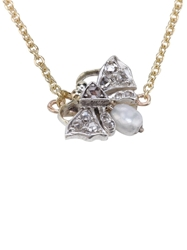 Esther Greville Diamond And Pearl Butterfly Necklace Metallic