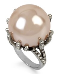 Betsey Johnson Silver Tone Imitation Pearl And Crystal Pave Statement Ring