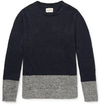 Oliver Spencer Stapleton Two Tone Linen Sweater Navy