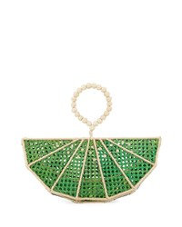 Mercedes Salazar Raffia Lime Wedge Clutch Bag Green