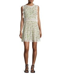 Red Valentino Sleeveless Lace Trim Daisy Print Dress Ivory Women's Size 48 10