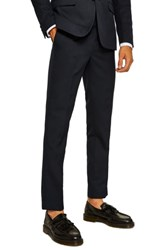 Topman Skinny Fit Textured Trousers Dark Blue