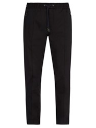 Dolce And Gabbana Cotton Blend Track Style Trousers Navy