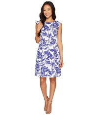Adrianna Papell Petite Printed Cotton Faille Belted Fit And Flare Ivory Cobalt Women's Dress Blue
