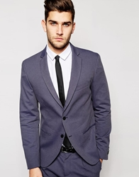 Sisley Suit Jacket With All Over Jacquard In Slim Fit Navy
