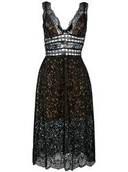 For Love And Lemons Sheer Lace Midi Dress Black