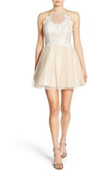 Steppin Out Women's Lace Applique Halter Skater Dress Off White Dark Ivory
