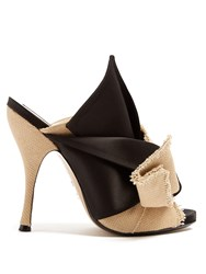 N 21 Bow Front Canvas And Satin Mules Black Cream