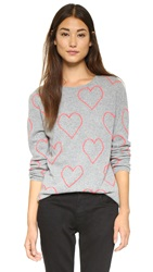 Chinti And Parker Allover Heart Sweater Grey Marl Pop Pink