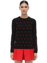 Red Valentino Heart Cashmere Blend Intarsia Sweater Black