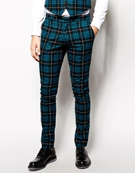 Vito Tartan Suit Trousers In Slim Fit Blue