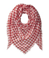 Collection Xiix Gingham Square Aged Red Scarves Burgundy
