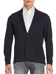 Saks Fifth Avenue Black Cotton Blend Blazer Grey