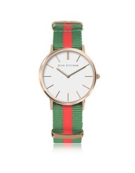 Sean Statham Rose Goldtone Stainless Steel Unisex Quartz Watch W Green And Red Striped Canvas Band