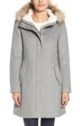 Cole Haan Women's Wool Parka With Faux Fur Trim