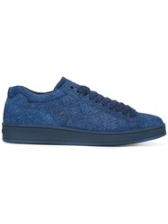 Kenzo Branded Lace Up Sneakers Men Calf Leather Leather Rubber 40 Blue