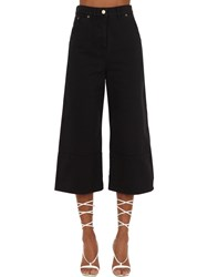 Jacquemus Cropped Wide Leg Cotton Denim Jeans Blue