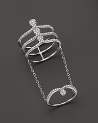 Meira T 14K White Gold Midi Chain Ring With Diamonds