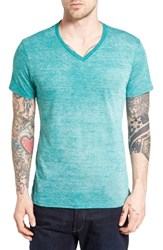 The Rail Men's Burnout V Neck T Shirt Green Tidepool White