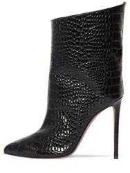 Alexandre Vauthier 110Mm Croc Embossed Leather Ankle Boots Black