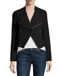 Laundry By Shelli Segal Zip Trim Open Front Jacket Black