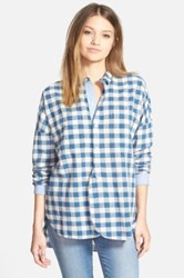 Madewell Button Front Gingham Shirt Blue