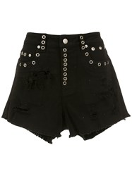 Andrea Bogosian Embellished Denim Shorts Black
