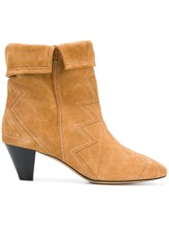 Etoile Isabel Marant Ankle Boots Calf Suede Calf Leather Leather Brown