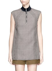 3.1 Phillip Lim Houndstooth Wool Sleeveless Boxy Top Multi Colour