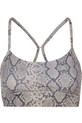 Varley Feliz Mesh Paneled Snake Print Stretch Sports Bra Gray