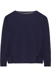 Enza Costa Knitted Cotton Sweater Blue
