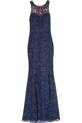 Marchesa Notte Metallic Tulle And Embroidered Corded Lace Gown Storm Blue