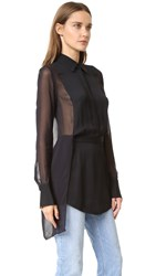 Dkny Collared Half Button Shirt With Sheer Back Black