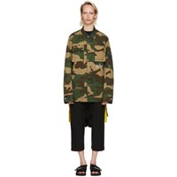 Off White Multicolor Camouflage Field Jacket