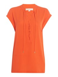 Michael Kors Cap Sleeve Top With Lace Up Neck Mandarin