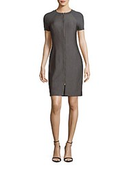 Halston Front Zipper Raglan Sleeve Dress Grey