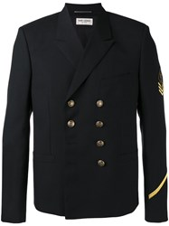Saint Laurent Double Breasted Military Jacket Black