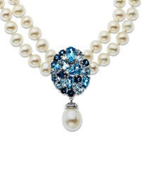 Macy's Sterling Silver Necklace Cultured Freshwater Pearl And Blue Topaz Two Row Necklace 4 Ct. T.W.