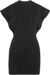 Jacquemus Knitted Cotton Mini Dress Black