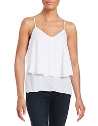 Guess Ruffled Tiered Tank White