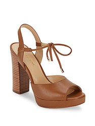 Saks Fifth Avenue Penelope Open Toe Platform Sandals Cognac