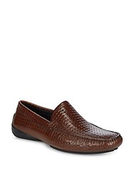 Karl Lagerfeld Diamond Embossed Leather Loafers Cognac