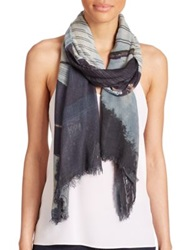 Tilo Bridge Print Modal And Cashmere Scarf Blue Multi